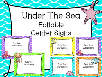 Under The Sea Editable Center Signs
