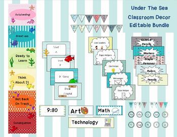 Under The Sea Editable Classroom Bundle