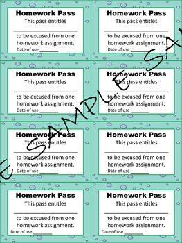 Under The Sea Homework, Computer Passes and Hall Passes