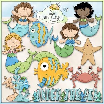 Under The Sea Mermaid Clip Art - Ocean Clip Art - CU Clip Art & B&W