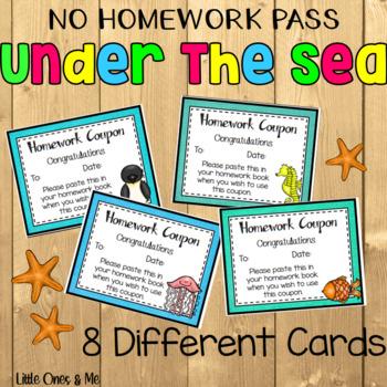 Under The Sea No Homework Coupon Pass