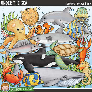 "Ocean Animals  / Sea Creatures Clip Art: ""Under the Sea"""
