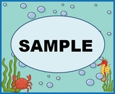 Under The Sea Ocean Theme Labels