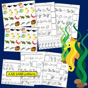 Ocean Theme Under The Sea Patterns: Math Center with AB, ABC, and ABB Patterns