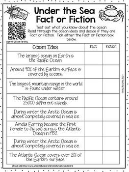Under The Sea Reading, Writing, Creative Thinking Activity Pack - 15 Activities