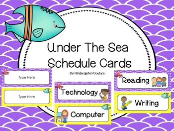 Under The Sea Schedule Cards -With Editable Page Included