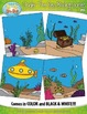 Under The Sea Themed Background Scenes Clip Art Set — Incl