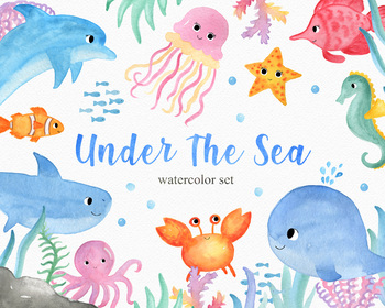 Under The Sea Watercolor Clipart Set Vol. 1, PNG Files