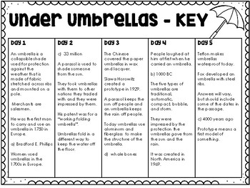 Under an Umbrella - Weekly Reading Passage and Questions