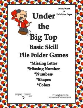 Under the Big Top Basic Skill File Folder Games