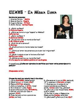Under the Same Moon - Bajo la Misma Luna Worksheet & Key by Señora ...