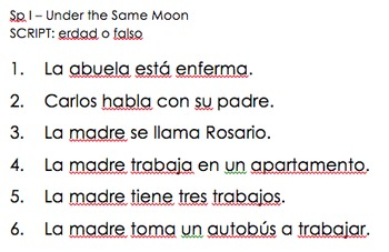 Under the Same Moon - Spanish I listening activity
