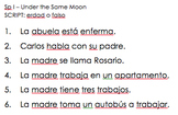 Under the Same Moon - Spanish I listening activity
