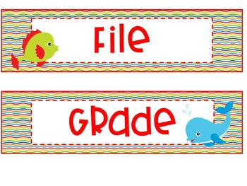 Under the Sea 3 Drawer Organizer Labels