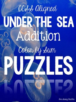 Under the Sea Addition Puzzles Color by Sums to 20 with Answer Keys