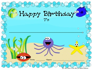 Under the Sea Birthday Certificate