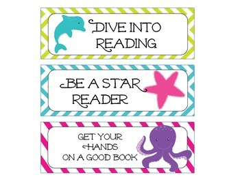 Sea Creatures Bright Stripe and Chevron Theme Bookmarks