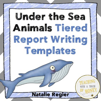 Under the Sea Animals: Tiered Report Writing Templates and Trading Cards Bundle