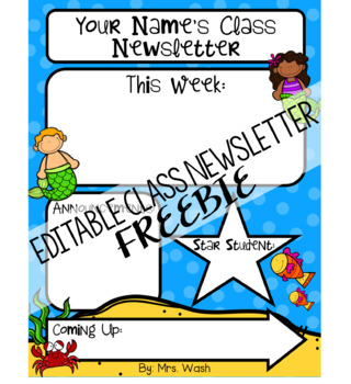 under the sea class newsletter template editable freebie by nikki