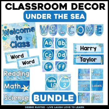Under the Sea Classroom Decor - Sea Turtles & Watercolor ~Editable~