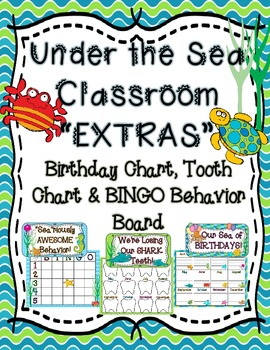 """Under the Sea Classroom """"Extras"""" - Birthday Chart, Tooth C"""