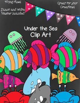 Under the Sea Clip Art- 19 png Files (Black and White Masters Included)