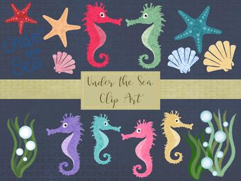 Under the Sea Clip Art Set, Separate PNG Files, High Resolution.