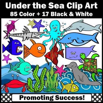 Under the Sea Clip Art Summer Ocean Animals Theme Commerci