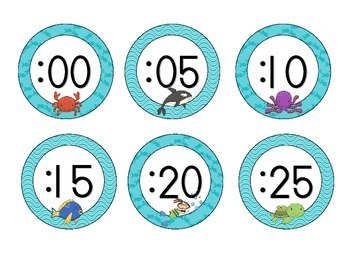 Under the Sea Clock Numbers: Waves and Fish Set