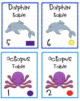 Under the Sea Cooperative Learning Table Labels