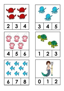 Under the Sea - Count and Clip Cards