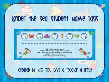 Under the Sea Desk Name Tags