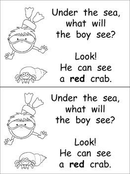 Under the Sea Emergent Reader- Kindergarten- Ocean Animals and Color Words