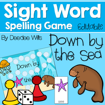 Sight Word Spelling Game ~ Down by the Sea ~ Editable