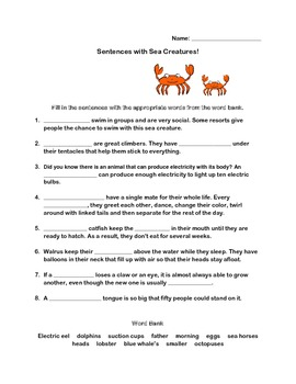 Under the Sea Language Arts and Math Fun Package (Includes 3 tests)