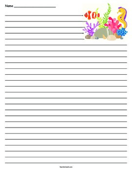 Under the Sea Lined Paper