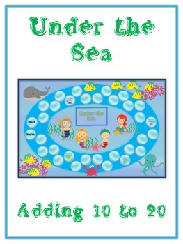 Under the Sea Math Folder Game - Common Core - Adding 10 to 20