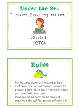 Under the Sea Math Folder Game - Common Core - Adding 2 and 1 Digit Numbers
