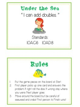 Under the Sea Math Folder Game - Common Core - Adding Doubles