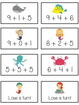 Under the Sea Math Folder Game - Common Core - Adding Three 3 Numbers