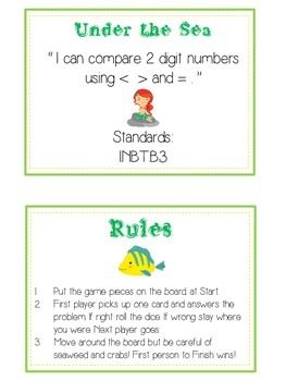 Under the Sea Math Folder Game - Common Core - Comparing 2 Digit Numbers