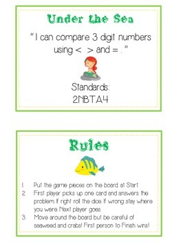 Under the Sea Math Folder Game - Common Core - Comparing 3 Digit Numbers
