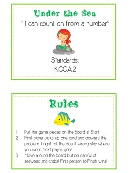 Under the Sea Math Folder Game - Common Core - Counting On From Number