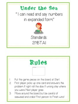 Under the Sea Math Folder Game - Common Core - Expanded Form