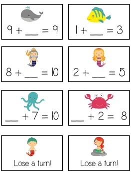 Under the Sea Math Folder Game - Common Core - Finding the Missing Part