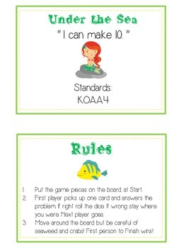 Under the Sea Math Folder Game - Common Core - Making Ten