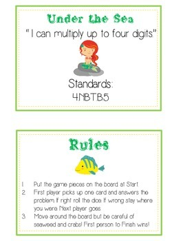 Under the Sea Math Folder Game - Common Core - Multiplication 1 2 3 4 Digits