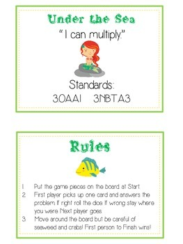 Under the Sea Math Folder Game - Common Core - Multiplication
