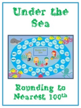 Under the Sea Math Folder Game - Common Core - Rounding to Nearest 100th