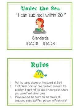 Under the Sea Math Folder Game - Common Core - Subtracting 10 to 20